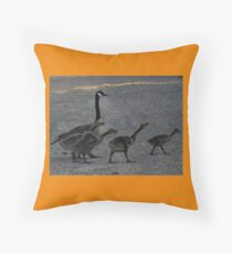 Crossing The Trail And The Little Ones Are Talking  Throw Pillow