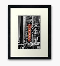 Red Chicago Theatre Sign Black and White Chicago Photography Framed Print