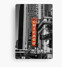 Red Chicago Theatre Sign Black and White Chicago Photography Canvas Print