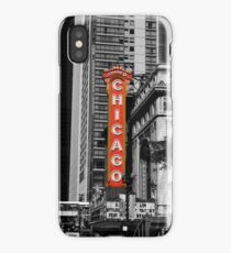 Red Chicago Theatre Sign Black and White Chicago Photography iPhone Case