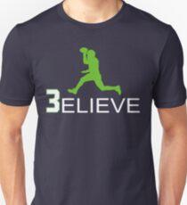 Russell Wilson Believe (3elieve) Green Jump Pass T-shirt Slim Fit T-Shirt