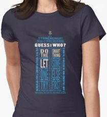 """Doctor Who TARDIS Quotes shirt - Eleventh Doctor """"Pandorica"""" Version Womens Fitted T-Shirt"""