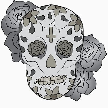 Sugar Skull (Smirking/colored) by elainejoven