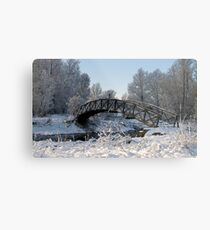 Bridge Snow Scene Metal Print