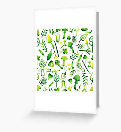 - Green watercolor mushrooms pattern - Greeting Card