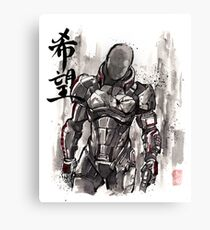 Commander Shepard from Mass Effect sumie style with HOPE Canvas Print