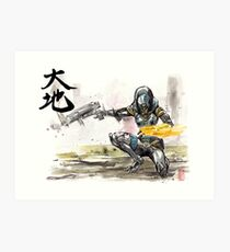 Tali from Mass Effect Sumie style with calligraphy Great Land Art Print