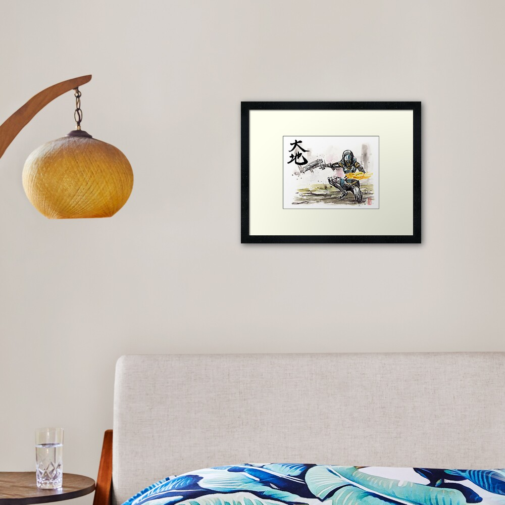 Tali from Mass Effect Sumie style with calligraphy Great Land Framed Art Print