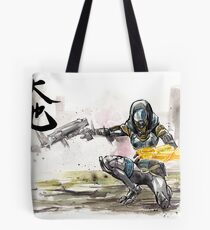 Tali from Mass Effect Sumie style with calligraphy Great Land Tote Bag