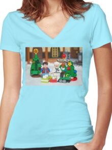 Mcfly Brown Xmas Women's Fitted V-Neck T-Shirt