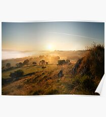 good day sunshine - a sunrise landscape image set in the North Wales valley of Dee near Llangollen Poster