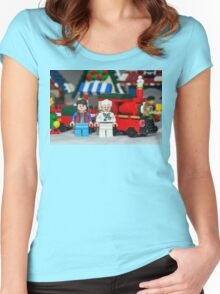 Doc and Marty and a Xmas Train Women's Fitted Scoop T-Shirt