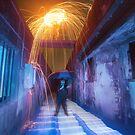 Raining fire and light by David Haworth