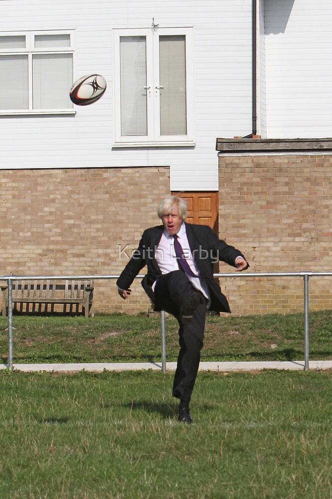 Boris Johnson kicking a rugby ball at streatham-croydon R.F.C. by Keith Larby