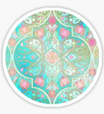 Floral Moroccan in Spring Pastels - Aqua, Pink, Mint & Peach Sticker