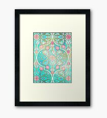 Floral Moroccan in Spring Pastels - Aqua, Pink, Mint & Peach Framed Print