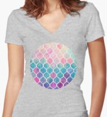 Rainbow Pastel Watercolor Moroccan Pattern Women's Fitted V-Neck T-Shirt