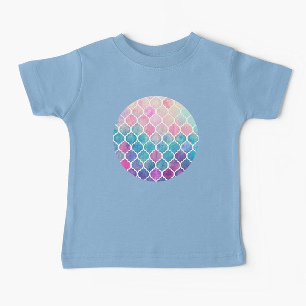 Rainbow Pastel Watercolor Marroquí Patrón Camiseta para bebés