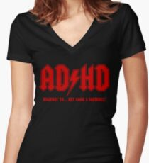 ADHD Highway to Hey! Women's Fitted V-Neck T-Shirt