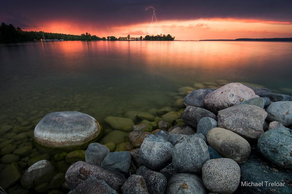 Lightning at Sunset - Leech Lake, MN by Michael Treloar