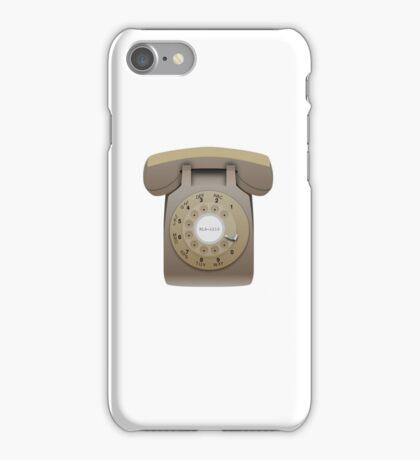 Rotary Phone (beige on white) iPhone Case/Skin