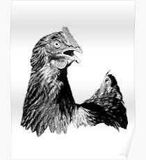 Rooster Digital Engraving. Farm Animal Images and Prints. Poster