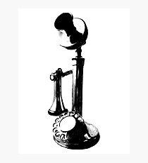 Antique Candlestick Telephone. Antique Digital Engraving Vintage Image. Photographic Print