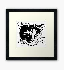 Cool Cat Head  ~ Black and white Framed Print