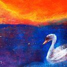 Swan on Dark Water by Pamela  Senzee