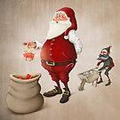 Santa Claus prepares gifts by jordygraph