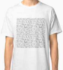 Seamless white pattern with many  leaves Classic T-Shirt