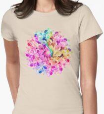 Regenbogen-Aquarell-Paisley-Blume Tailliertes T-Shirt