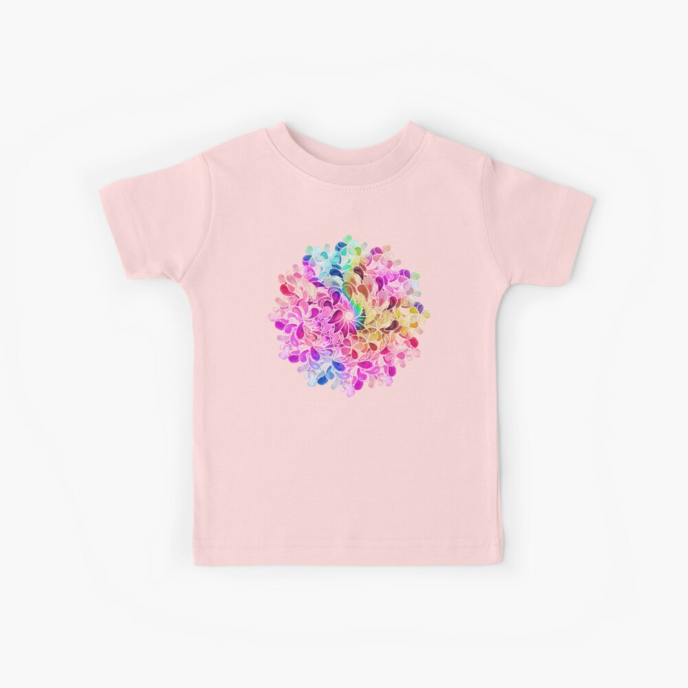 Rainbow Watercolor Paisley Flower Kids T-Shirt
