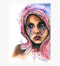 "Watercolor and Ink Portrait ""Katja"" Photographic Print"