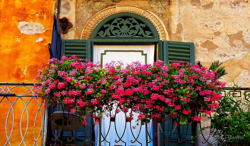 Verona balcony flowers italy by david j baster redbubble for Italian balcony