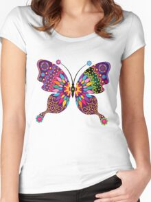 Colorful Abstract Retro Butterfly Women's Fitted Scoop T-Shirt