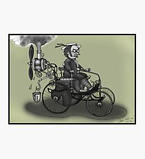 steampunk peugeot style vintage automobile (black and white) Photographic Print