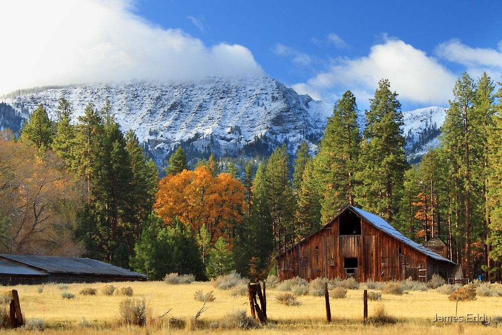 Autumn Barn At Thompson Peak by James Eddy