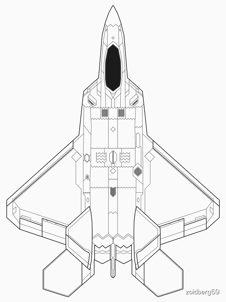 Lockheed Martin F 22 Raptor Blueprint T Shirt By Zoidberg69