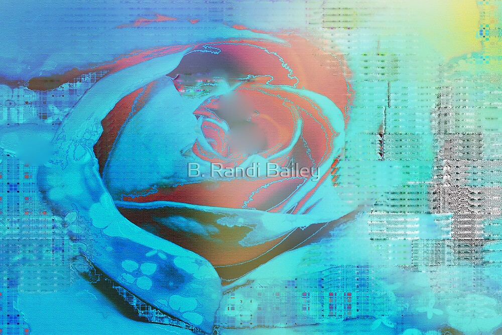 Peach rose highlighted in blue by ♥⊱ B. Randi Bailey