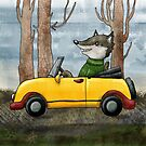 Wolf Driving by Rencha
