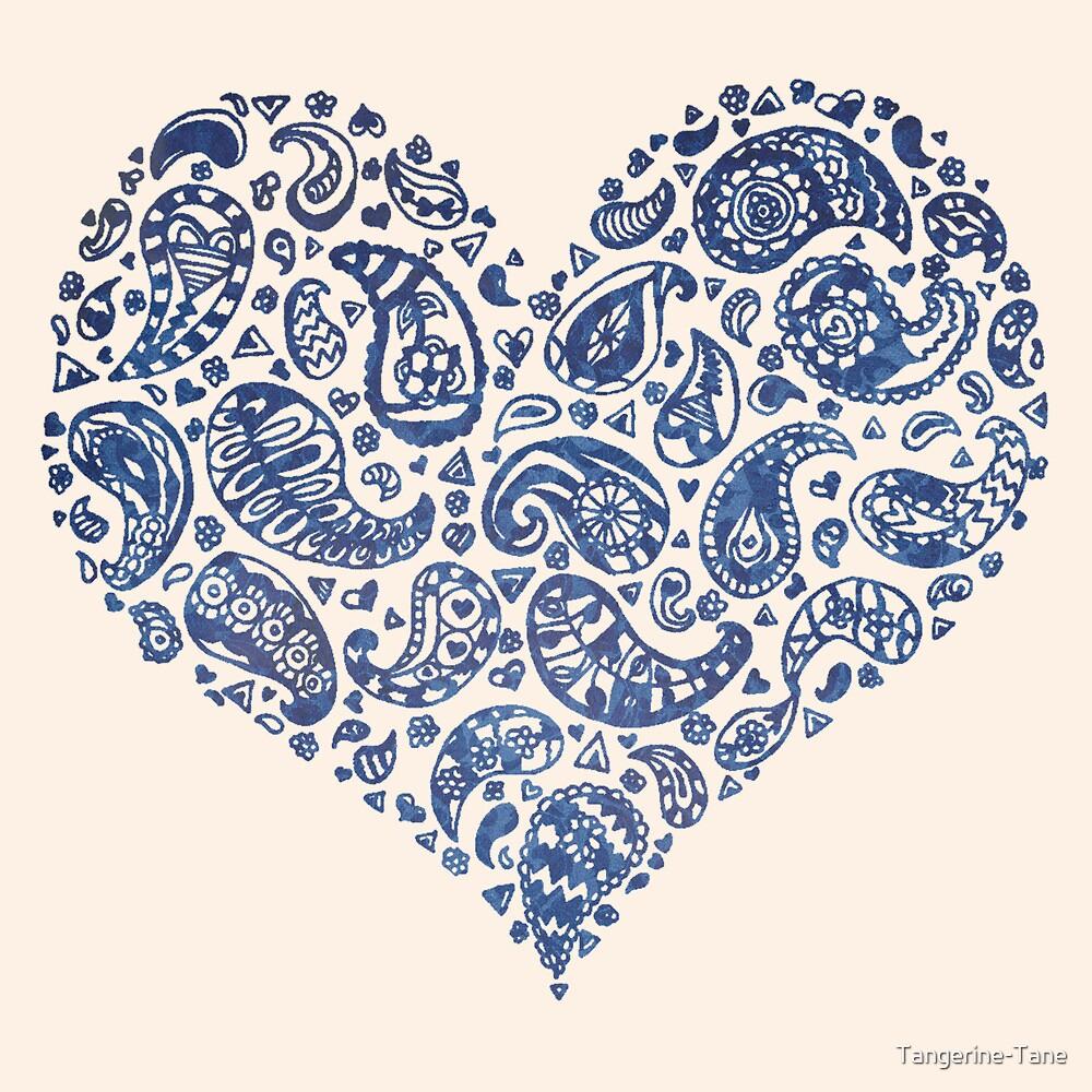 Blue Brocade Paisley Heart by Tangerine-Tane