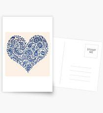 Blue Brocade Paisley Heart Postcards