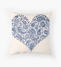 Blue Brocade Paisley Heart Throw Pillow