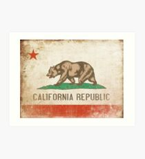 Poster with Distressed California Flag Art Print