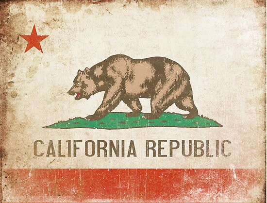 Poster with Distressed California Flag by Geezon