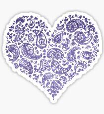 Purple Brocade Paisley Heart Sticker