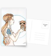 A Word to the Wise - Owl Watercolor Painting Postcards