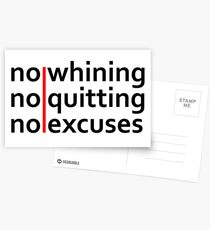 No Whining | No Quitting | No Excuses Postcards
