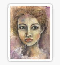 Lady in White Pastel portrait Sticker